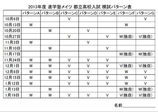 2013年度 進学塾メイツ 都立高校入試 模試パターン表